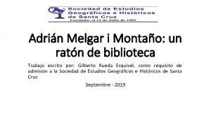 Adrin Melgar i Montao un ratn de biblioteca
