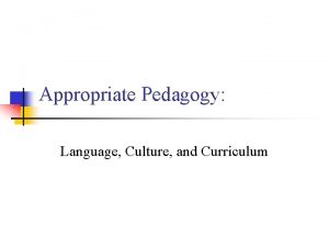 Appropriate Pedagogy Language Culture and Curriculum What is