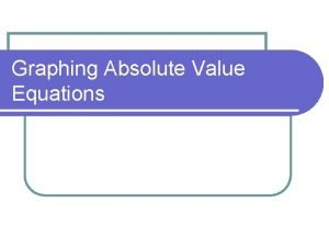 Graphing Absolute Value Equations Absolute Value Equation A