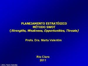 PLANEJAMENTO ESTRATGICO MTODO SWOT Strengths Weakness Opportunities Threats