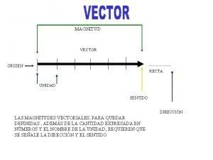 MAGNITUD VECTOR ORIGEN RECTA UNIDAD SENTIDO DIRECCIN LAS