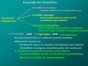 Ecuatiile lui Hamilton Ecuatiile lui Newton depind explicit