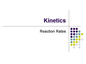 Kinetics Reaction Rates Reaction Rates Collision theory Potential