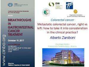 Colorectal cancer Metastatic colorectal cancer right vs left