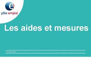 Les aides et mesures 3 novembre 2020 SOMMAIRE