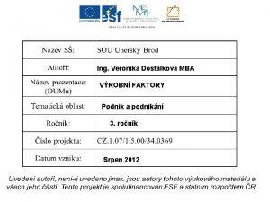 Ing Veronika Dostlkov MBA VROBN FAKTORY Podnik a