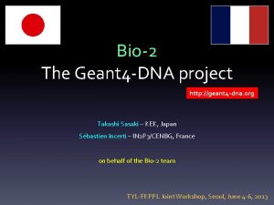 Bio2 The Geant 4 DNA project http geant