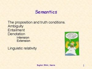 Semantics The proposition and truth conditions Ambiguity Entailment