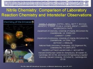 Nitrile Chemistry Comparison of Laboratory Reaction Chemistry and