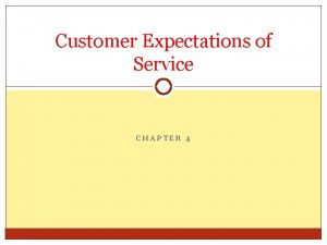 Customer Expectations of Service CHAPTER 4 Customer Expectations