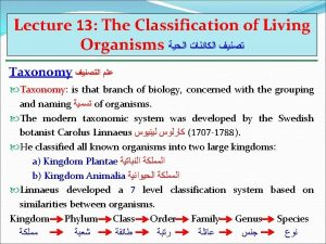 Lecture 13 The Classification of Living Organisms Taxonomy