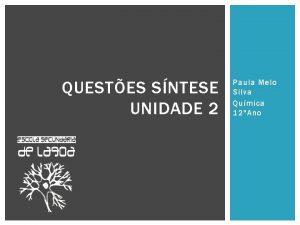 QUESTES SNTESE UNIDADE 2 Paula Melo Silva Qumica
