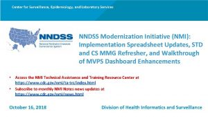 Center for Surveillance Epidemiology and Laboratory Services NNDSS