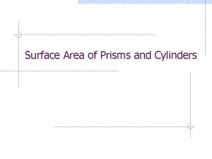 Surface Area of Prisms and Cylinders Area The