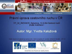 Prvn prava cestovnho ruchu v R VY32INOVACEKaluzova12 3