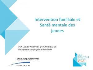 Intervention familiale et Sant mentale des jeunes Par