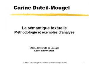 Carine DuteilMougel La smantique textuelle Mthodologie et exemples