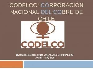 CODELCO CORPORACIN NACIONAL DEL COBRE DE CHILE By
