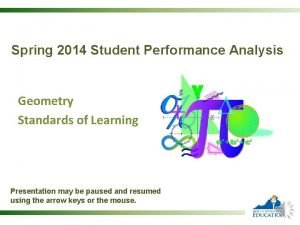 Spring 2014 Student Performance Analysis Geometry Standards of
