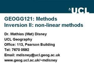 GEOGG 121 Methods Inversion II nonlinear methods Dr