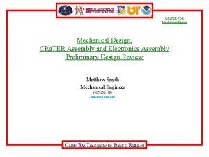 CRa TER PDR Mechanical Design CRa TER Assembly