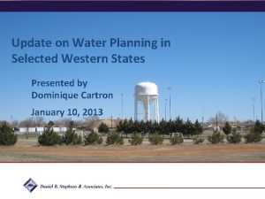 Update on Water Planning in Selected Western States
