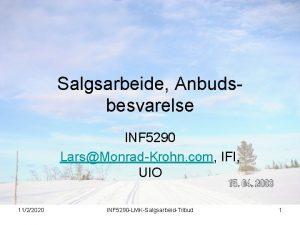 Salgsarbeide Anbudsbesvarelse INF 5290 LarsMonradKrohn com IFI UIO