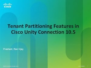 Tenant Partitioning Features in Cisco Unity Connection 10