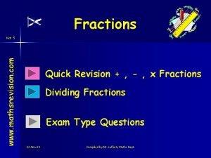 Fractions www mathsrevision com Nat 5 Quick Revision