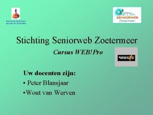 Rabobank Zoetermeer Sponsor vh Senior Web Stichting Seniorweb