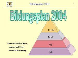 Bildungsplan 2004 Ministerium fr Kultus Jugend und Sport
