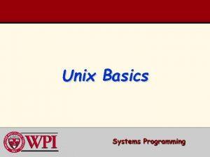 Unix Basics Unix Basics Unix directories Important Unix