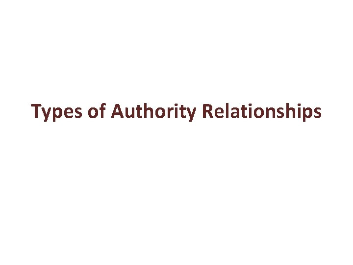Types of Authority Relationships Line Authority Line authority