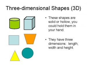 Threedimensional Shapes 3 D These shapes are solid