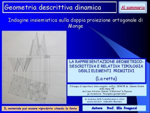 Geometria descrittiva dinamica Al sommario Indagine insiemistica sulla