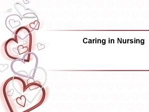 Caring in Nursing Caring is Universal Influences the