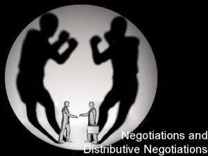 Negotiations and Distributive Negotiations Agenda Admin Questions Theory