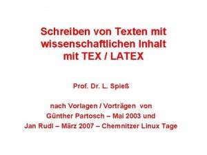 Schreiben von Texten mit wissenschaftlichen Inhalt mit TEX
