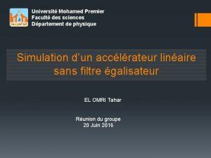 Universit Mohamed Premier Facult des sciences Dpartement de