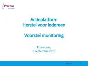 Actieplatform Herstel voor iedereen Voorstel monitoring EttenLeur 8