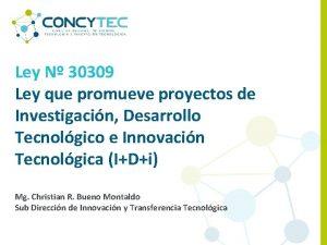 Ley N 30309 Ley que promueve proyectos de