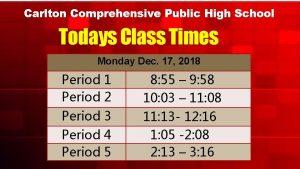 Carlton Comprehensive Public High School Todays Class Times