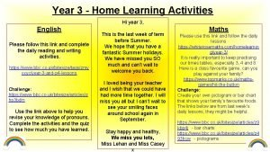 Year 3 Home Learning Activities Hi year 3