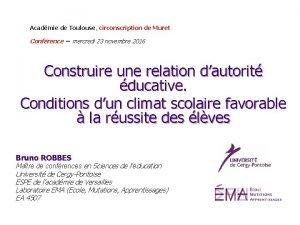 Acadmie de Toulouse circonscription de Muret Confrence mercredi