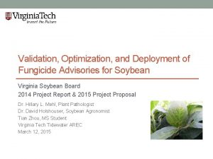 Validation Optimization and Deployment of Fungicide Advisories for