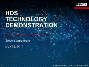 HDS TECHNOLOGY DEMONSTRATION Steve Sonnenberg May 12 2014