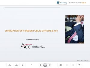 CORRUPTION OF FOREIGN PUBLIC OFFICIALS ACT in collaboration