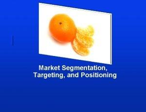 Market Segmentation Targeting and Positioning Lesson Objectives Summarise