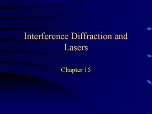 Interference Diffraction and Lasers Chapter 15 Interference of