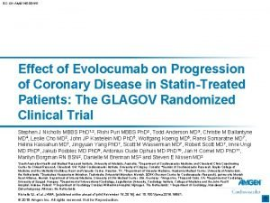 SCCHAMG 145 00441 Effect of Evolocumab on Progression